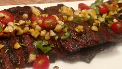 Diablo Dry-Rubbed Skirt Steak with Grilled Corn Salsa